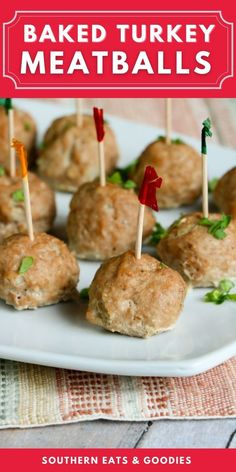 These oven baked turkey meatballs are great additions to a healthy dinner or even as a meaty appetizer. Easy and tasty. These meatballs are a good healthy alternative to frying. Meaty Appetizers, Southern Appetizers, Southern Recipes, Baked Turkey, Turkey Meatballs, Healthy Alternatives, Oven Baked, Tasty, Baking