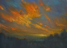 The fire of sky / oil /canvas /30x40 cm  by Vladimir-Kireev