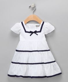 White & Navy Nautical Dress - Infant & Toddler #zulily #fall