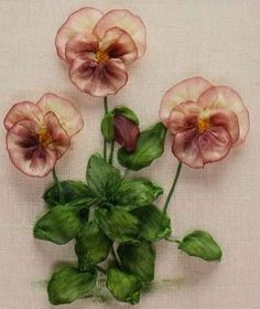Ribbon Embroidery For Beginners A-Z of Silk Ribbon Flowers - Viola by Ann Cox Embroidery Designs, Ribbon Embroidery Tutorial, Silk Ribbon Embroidery, Embroidery Stitches, Embroidery Patterns, Embroidery Books, Machine Embroidery, Eyebrow Embroidery, Embroidery Digitizing