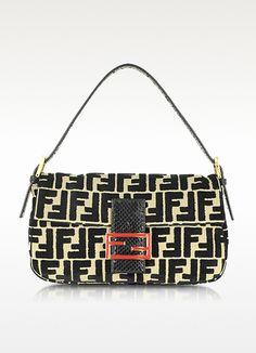 6b7748e3373 Fendi Velvet and Python Monogram Baguette Fendi Designer, Designer  Handbags, Fall Handbags, Fashion