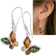 Four Seasons Amber & Sterling Butterfly Earrings at The Animal Rescue Site $29.95