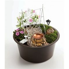 Mini-Garden Assorted White Fairy Furniture in Brown Eco Pot
