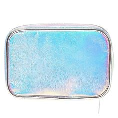 Keep your makeup and cosmetic brushes organized in striking style with this cosmetic bag. The textured silver rectangular shaped bag has a holographic finish for a vibrant look. Perfect to travel with.