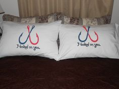 "Couples Pillowcases, Bedroom Decor with Two Fish Hooks and ""Hooked On You"" Hand Painted on Etsy, $36.00"