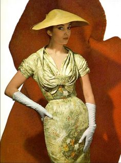 1954 Model in silk print dress by Lanvin-Castillo, photo by Georges Saad