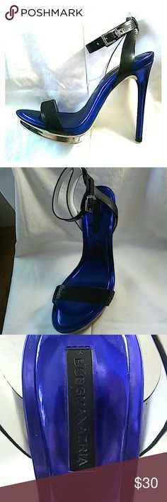 """BCBGMAXAZRIA sexy sandals BCBGMAXAZRIA super sexy sandal; electric blue and genuine leather straps; silver embelishments and hardware; worn only once; great condition; size 8.5; 5"""" heel- 1"""" platform; BCBGMaxAzria Shoes Sandals"""