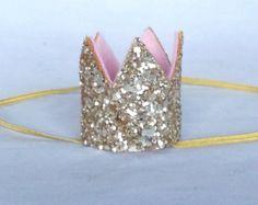 Ready to ship Mini Glittery Crown Headband , baby, Birthday, cake smash, 1st birthday, baby girl birthday, birthday, bride, pink and gold
