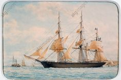 """The New York clipper """"Ocean Herald"""", by Francois Roux (1811–1882), watercolour. 19th century."""