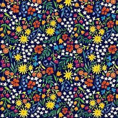 Navy Ditsy Floral by jenniferlorenzstudio