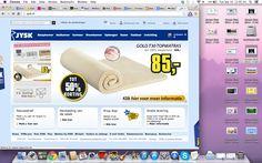 Een website gelijksoortig aan die van de Ikea. Zelfde kleuren, zelfde header, afbeelding van acties op de homepage.