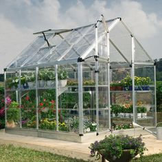 Snap and Grow  6' x 8' Snap & Grow Greenhouse         * Crystal clear as glass polycarbonate panels are virtually unbreakable and blocks 99.9% of harmful solar UV rays      * Split style door and large adjustable vent window for efficient ventilation and air circulation      * Includes pre-assembled door and window with weather-stripping      * Fast and easy assembly using Smart Lock connectors  800 lowes