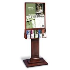 "Solid Wood Paneled Base Floor Display for 22x28 with 5-Pocket Lit (2S)(65-1/2""H)"
