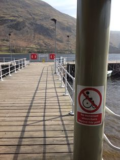 Walkway to end of Pier at Glenridding -no motorised chairs access Walkway, Attraction, Chairs, Bottle, Drinks, Image, Drinking, Runway, Beverages