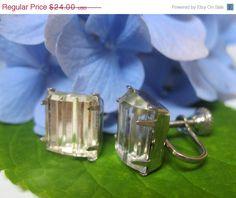 SALE 15% OFF Art Deco Ridged Paneled Glass Earrings Fabulous Vintage