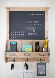 Home Decor DIY Projects Budget Friendly Family Command Center Cool Diy Projects, Home Projects, Cheap Home Decor, Diy Home Decor, Family Command Center, Command Centers, Chalkboard Command Center, Cool Apartments, Decorating On A Budget