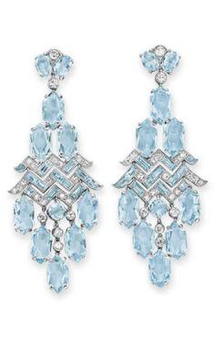 art deco European-cut diamond and oval-cut aquamarine surmount, mounted in platinum, circa Cartier Art Deco Jewelry, I Love Jewelry, Fine Jewelry, Jewelry Design, Cartier Jewelry, Antique Jewelry, Vintage Jewelry, Cartier Earrings, Ruby Earrings