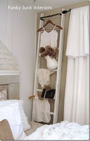 """Funky Junk Interiors: Bedroom makeover Part 3 ~ """"White Trash"""" reveal with dried hydrangea display on ladder Old Ladder, Vintage Ladder, Antique Ladder, Driven By Decor, Funky Junk Interiors, Modern Wall Decor, Home And Deco, Handmade Home, Ladder Decor"""