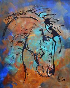 """Tableau """"Le vieux cheval"""" peinture acrylique - peintures-axelle-bosler : Peintures par peintures-axelle-bosler"""