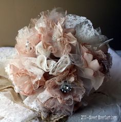 Champage and Lace Fabric HANDMADE Flower Bridal Bouquet Set includes Throw Bouquet beautiful rhinestone accents.