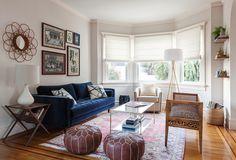 San Francisco, Noe Valley Project, Blue Velvet sofa, Leopard Bench, Moroccan Poufs, Kelley Werstler Pillows, Antique Rug, Eclectic Living Room