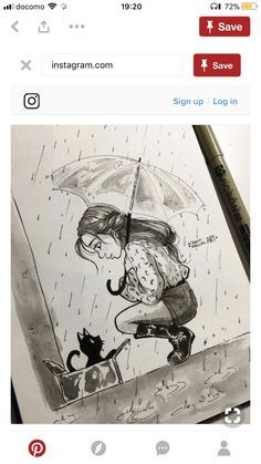 thia is my Kai-Rawr ////////////Kindness on a rainy day Amazing Drawings, Beautiful Drawings, Amazing Art, Art Drawings Sketches, Cartoon Drawings, Cute Drawings, Arte Sketchbook, People Art, Character Drawing