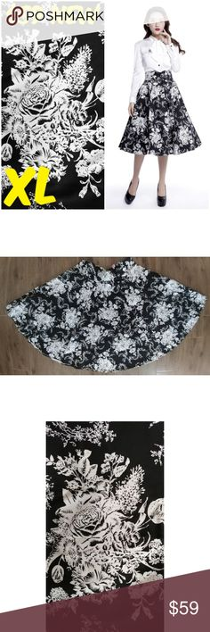 """1950s Girl Pin Up Clothing Skirt XL Black Floral Pin Up Clothing Skirt New without Tags Waist: 32"""" Hips: Free Length: 28"""" MATERIAL: 97% Cotton and 3% Spandex TAG SIZE IS EUROPEAN 42 WHICH IS US XL #C16 PVT Skirts A-Line or Full"""