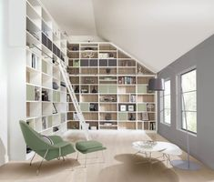 This modern library features floor to ceiling storage space as well as Bardolino oak backboards and a bespoke ladder. Modern Library Furniture, Bespoke Furniture, Handmade Furniture, Loft Office, Bespoke Design, The Ranch, Soft Furnishings, Home Renovation, Storage Spaces