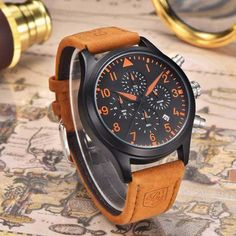 The Pilot Military Leather Strap Watch is an impressive Benyar watch. This exquisite piece combines an aviator style and unique design. Army Watches, Sport Watches, Wrist Watches, Vintage Watches For Men, Unique Watches, Affordable Watches, Watches Online, Leather Fashion, Fashion Watches