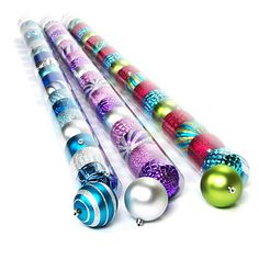 Fashion Colored Ornament Tube, 19-Pack at Big Lots. I love the blue, green, and red pack #BigLots