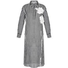 Wisdom Collared Striped Dress ($690) ❤ liked on Polyvore featuring dresses, stripe, white collar dress, floral printed dress, floral button down dress, stripe dresses and button up dress