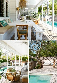 This is THE table for the pool patio. Bench against the wall and hanging lanterns from the pergola above the table.
