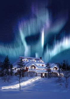Hotel and Igloo Village Kakslauttanen - Lapland, Finland!love this awesome aurora borealis surrounding the hotel! The Places Youll Go, Places To See, Igloo Village, Beautiful World, Beautiful Places, Beautiful Lights, Stunningly Beautiful, Lofoten, Winter Scenes