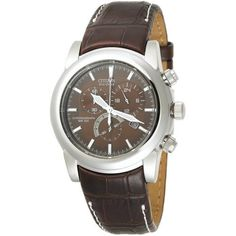 Citizen Men s AT0550-11X Eco-Drive Chronograph Stainless Watch Brown  Leather Watch 5844a38184