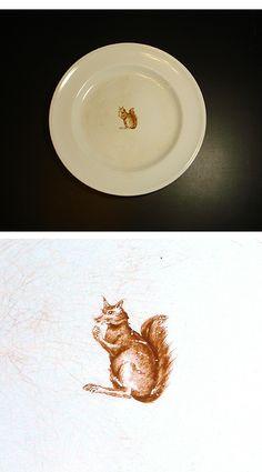 Antique Squirrel Dinner Plate (Minton)