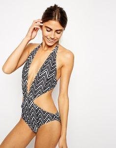 ASOS Mono Chevron Print Plunge Cut Out Swimsuit