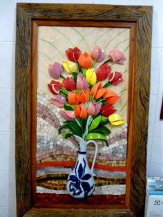 Resultado de imagem para Mosaic dog by Solange Piffer Mosaic Vase, Mosaic Tiles, Tiling, Mosaic Crafts, Mosaic Projects, Mosaic Pictures, Mosaic Flowers, Mosaic Madness, Creta