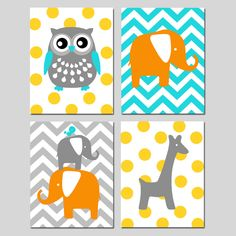 Animal Nursery Art Quad - Owl, Elephant, Bird, Giraffe - Chevron Polka Dot - Kids Wall Art - Set of Four 8x10 Prints - CHOOSE YOUR COLORS by Tessyla on Etsy https://www.etsy.com/listing/128978870/animal-nursery-art-quad-owl-elephant