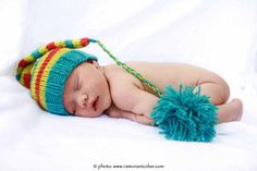 Recién nacido Baby Boy o sombrero de duende rayas punto chica con pompones de fotografía Props