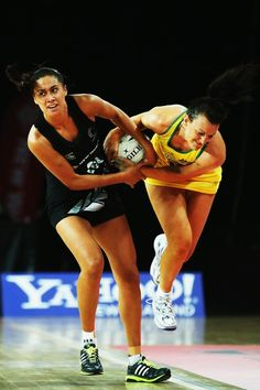 Maria Tutaia of the Silver Ferns competes with Bianca Chatfield of Australia during game two of the Constellation Series between the New Zealand Silver Ferns and the Australian Diamonds at Vector Arena www.pro-netballdrills.com