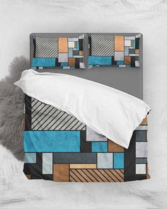 Random Concrete Pattern - Blue, Gray, Brown // Duvet Cover + Pillow Shams by Zoltan Ratko // This pattern design is also available as a wall art, apparel, tech and home product. Pillow Shams, Pillow Covers, Brown Duvet Covers, Dinosaur Toddler Bedding, Cozy Bedroom, Master Bedroom, Linen Bedding, Grey Bedding, Geometric Pillow