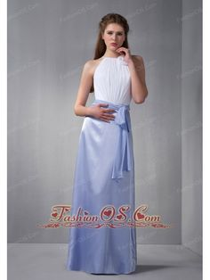 Cheap White and Lilac Scoop Bridesmaid Dress wth Chiffon Belt    http://www.fashionos.com  http://www.facebook.com/quinceaneradress.fashionos.us   Fun and fantastic! The whole bodice is adorned with exquisite ruchings and it features spaghetti straps with a unique cuvred neckline adorned with a hand-made flower. The contrasting color of the bodice and skirt adds charming and elegance to this beautiful dress.