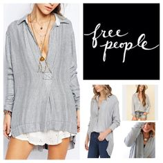 """Free People On The Road Oxford Pullover.  NWT. Free People Striped Oxford Combo On The Road Oversized Pullover, 100% rayon, washable, 23"""" armpit to armpit (46"""" all around), 19"""" arm inseam, 29"""" front length, 31"""" back length, spread collar, V neck, long sleeves, button cuffs, allover stripe print, high low hem with rounded back, back box pleat, notched sides, measurements are approx.  No Trades... Free People Tops"""