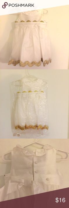 Gorgeous Baby Girl Dress 0-6 month (could go to 9 month+) // Gorgeous Mudpie dress with tulle, ric race, delicate collar, and bow. Perfect for Easter, Christening, dedication, wedding, portraits or just because it's so pretty. 😍 Still in the bag with the tag (ordered from Zulily) and only had it on our baby long enough to determine it was way too large for newborn photos (first time mom fail...). Dresses Formal
