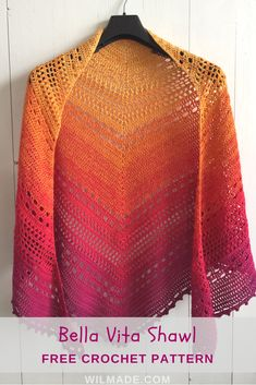 Bella Vita Shawl - a free #crochet #pattern on wilmade.com. Made with a #sunset colors #gradient #plied #yarn cake. #triangle #summer #spring #purple #orange