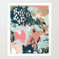 Art Print featuring Eisley - Modern fresh abstract painting in bright colors perfect for trendy girls decor college by CharlotteWinter