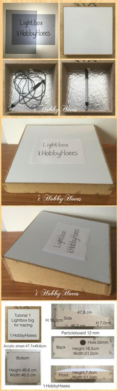 Lightbox for tracing or Tracingbox. DIY. Tutorial 1 included. DIY. This inexpensive Lightbox I'm using for more than 25 years. So I'm still using an oldfashioned Long-Line Fluorescent Work Light 8W with 5 m. cord. Nowadays you can use a tube with leds for example or use just ledstrips. The benefit of the tube is, you also can use it as a work light, inspection lamp in the garage or so, and it doesn't get that hot. See tutorial 1. DIY. Grate fun with it. 't HobbyHoees 02 april 2016