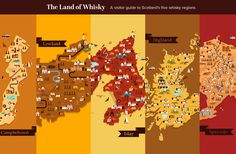 Home to the greatest concentration of distilleries in the world, Scotland is divided into five distinct whisky regions. These are Islay, Speyside, Highland, Lowland and Campbeltown.