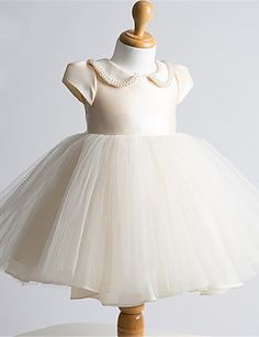 Ball Gown Short / Mini Flower Girl Dress - Tulle Short Sleeve Jewel with Bow(s) / Pearl Detailing 5179627 2017 – $53.99