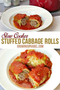 Slow cooker cabbage rolls are the perfect comfort food! These are paleo and gluten free made with ground turkey or ground beef. This healthy dinner cooks all day in the Crock Pot in a tomato sauce until they are ready to eat.
